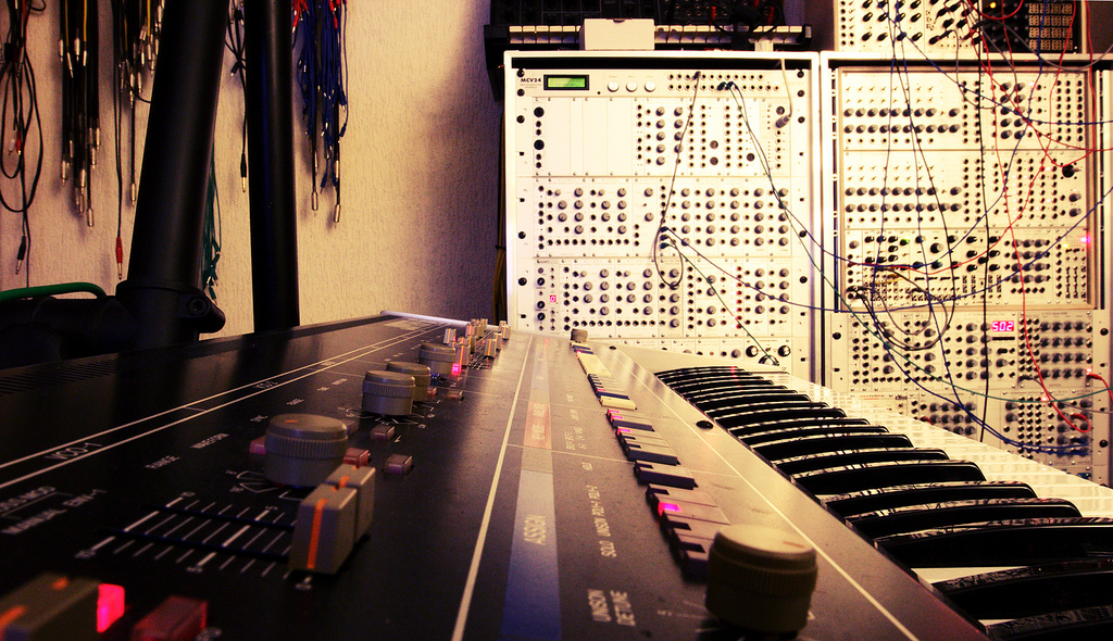 analog synthesizer studio photo